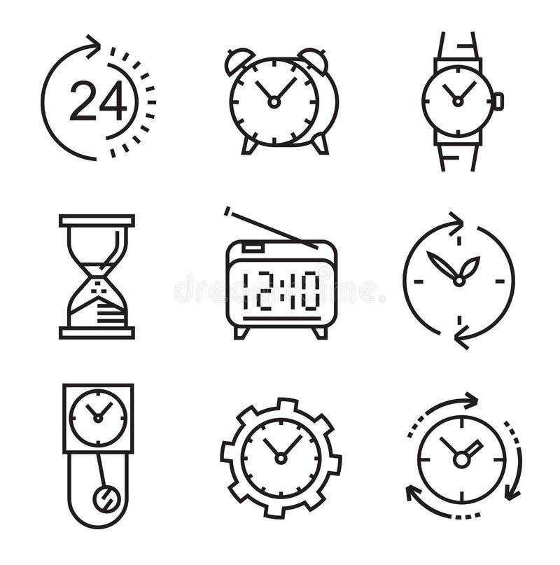 Черные плоские часы иллюстрация вектора