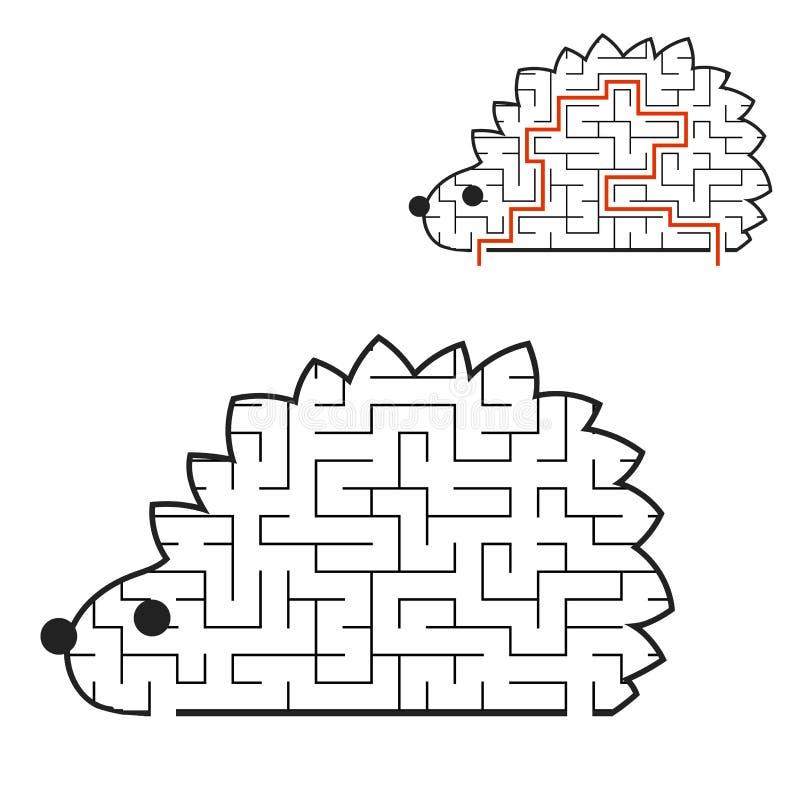 Черные рабочие листы детей ежа Мультяшки лабиринта Страница деятельности Головоломка игры для детей животное одичалое Головоломка бесплатная иллюстрация