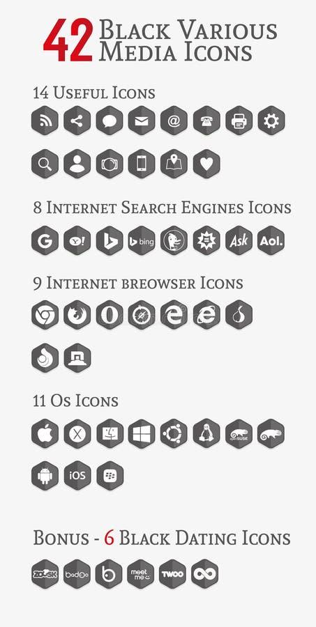 Черные различные значки полигона средств массовой информации (установите 2) бесплатная иллюстрация