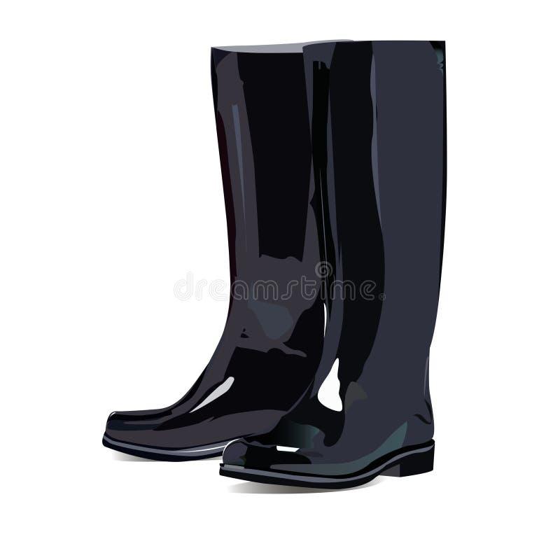 Черные резиновые ботинки с белой предпосылкой. иллюстрация штока