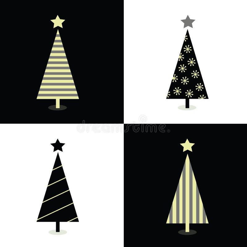 черные рождественские елки белые иллюстрация штока