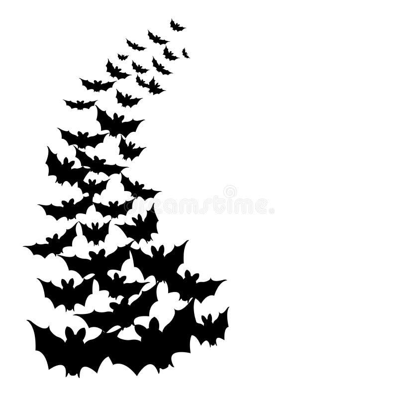Черные силуэты летучих мышей для летания хеллоуина на белой предпосылке иллюстрация вектора