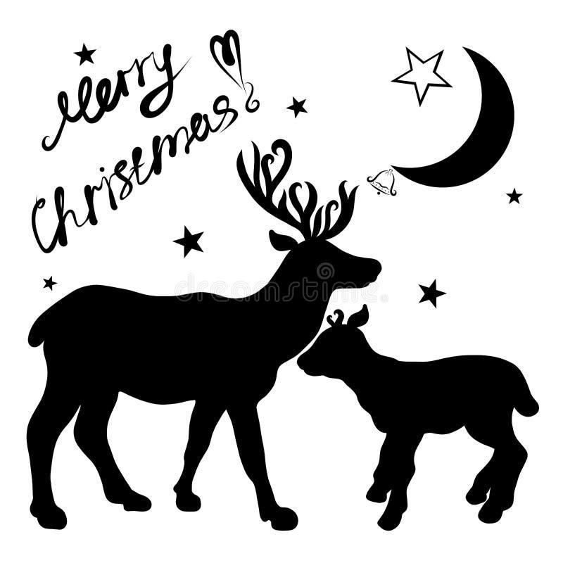 Черные силуэты оленей на белой предпосылке, поздравлений иллюстрация штока