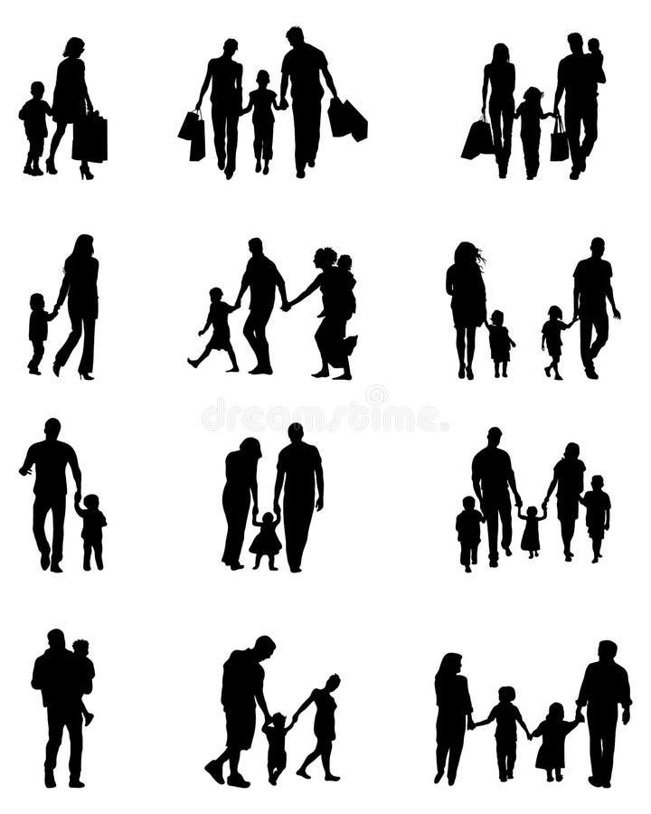 Черные силуэты семей бесплатная иллюстрация