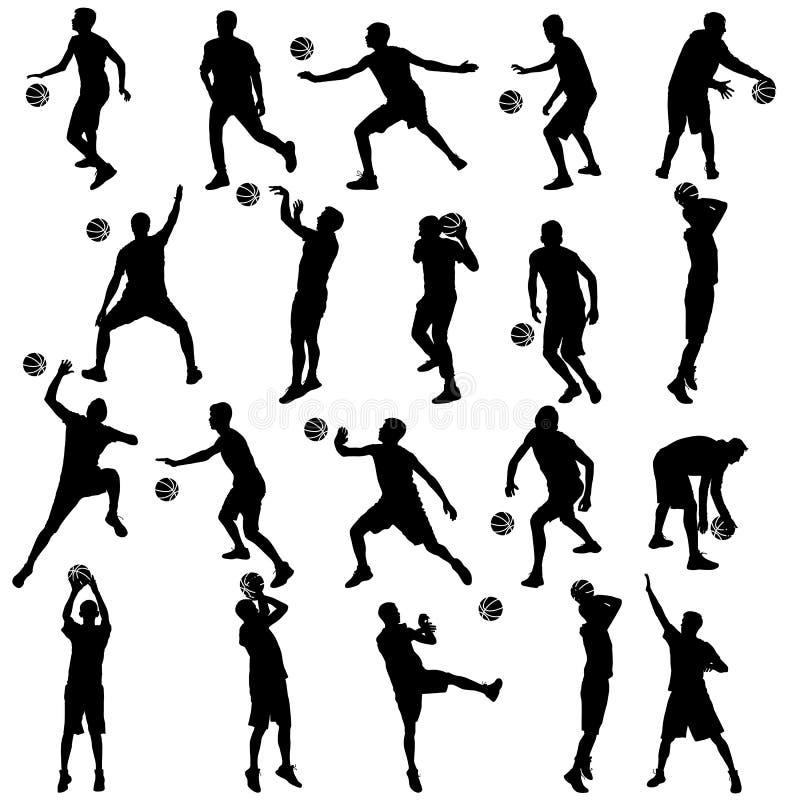 Черные силуэты установили людей играя баскетбол на белой предпосылке иллюстрация штока