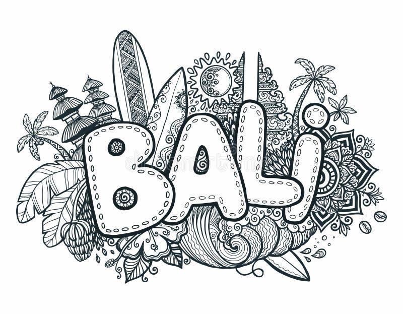 Черные символы острова - виски, цветки, ладони, волны и доски стиля doodle знака Бали вектора в наличии нарисованные серфинга иллюстрация штока