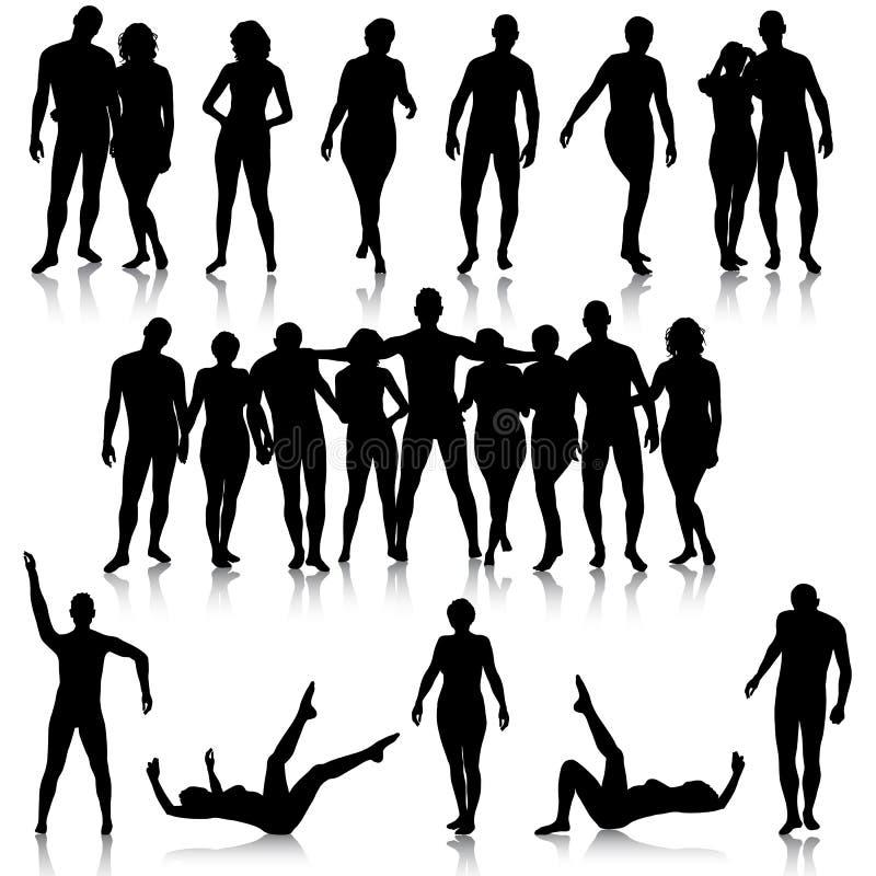 Download Черные силуэты красивого укомплектовывают личным составом и женщина на белом Backgrou Иллюстрация вектора - иллюстрации насчитывающей группа, счастливо: 40591230