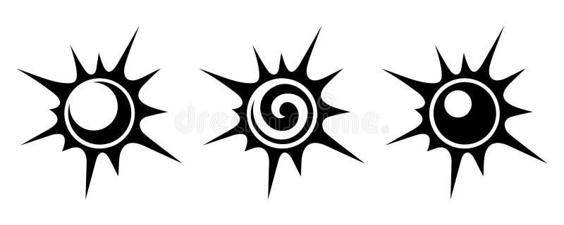 Черные силуэты солнец также вектор иллюстрации притяжки corel бесплатная иллюстрация