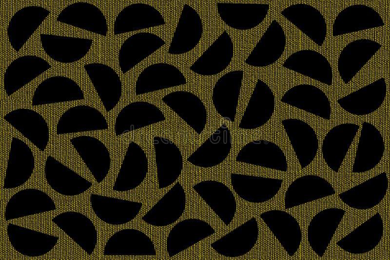 Черные случайные полуокружности на хаки предпосылке холста Абстрактная геометрическая картина в ретро стиле для печати ткани, тка иллюстрация вектора