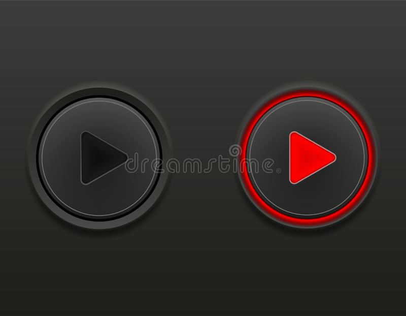 Черные средства массовой информации застегивают игру дальше и иллюстрацию вектора запаса позиции выключить иллюстрация вектора