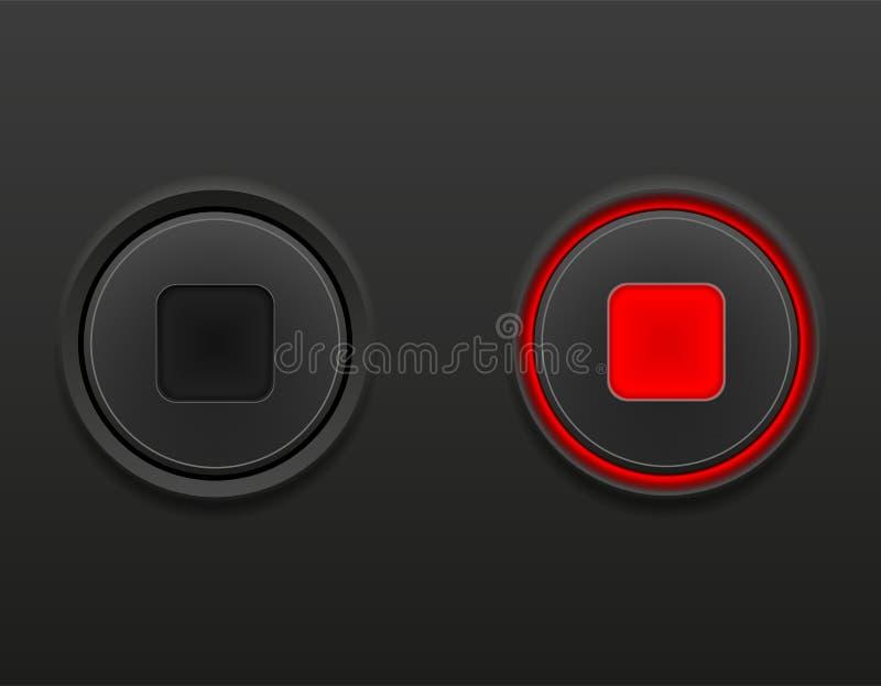 Черные средства массовой информации застегивают стоп дальше и иллюстрацию вектора запаса позиции выключить иллюстрация штока