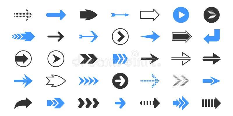 Черные стрелки Плоские символы указателя, вверх и вниз левого курсора символов направления, голубых и красных Набор значка стрелк иллюстрация штока