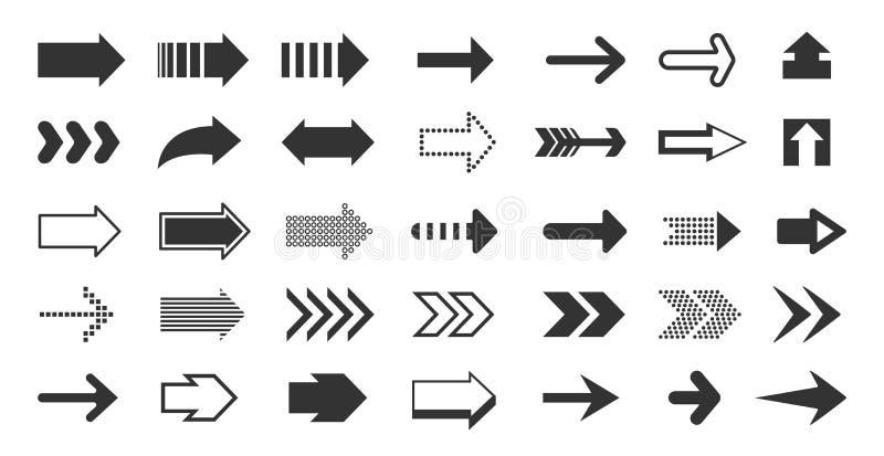 Черные стрелки Указатели направления, вверх по вниз с левым знакам форм и ходов точек, знак плоского пиксела курсора следующий иллюстрация вектора
