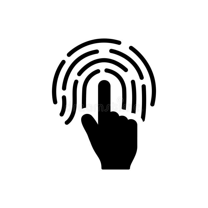 Черные твердый значок для отпечатка пальцев, биометрический и идентичности иллюстрация штока