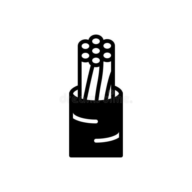 Черные твердый значок для провода, электрический и кабеля иллюстрация вектора