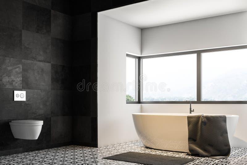 Черные угол, ушат и раковина ванной комнаты плитки бесплатная иллюстрация