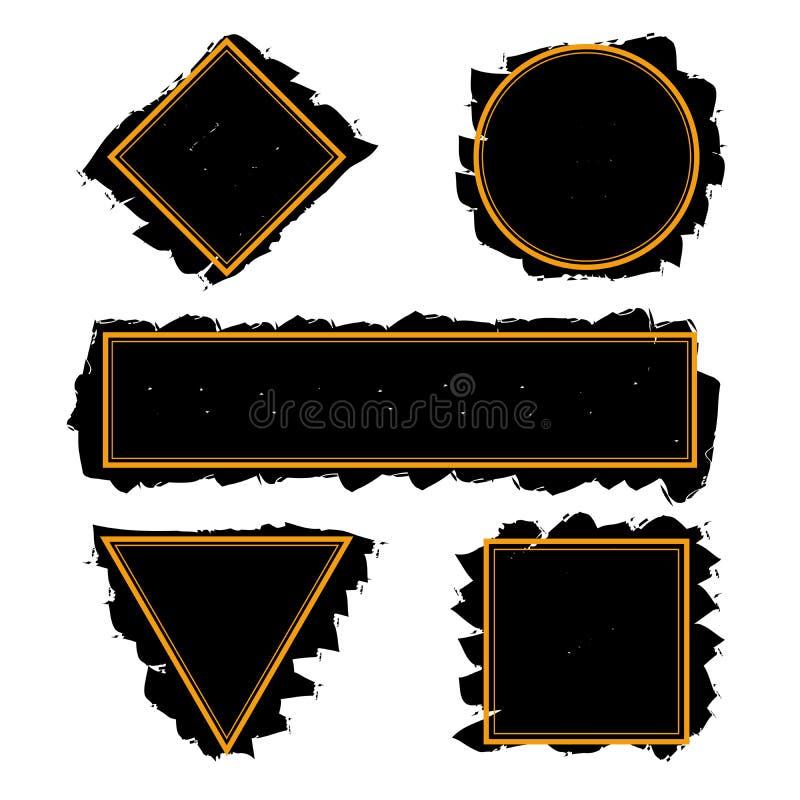 Черные ультрамодные рамки ходов щетки чернил, набора вектора иллюстрация штока