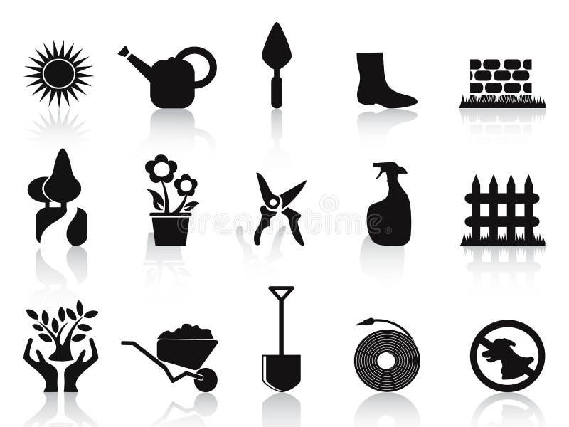 черные установленные иконы сада иллюстрация вектора
