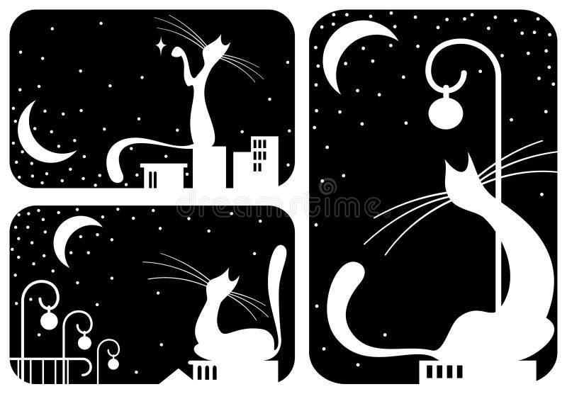 черные установленные коты иллюстрация штока