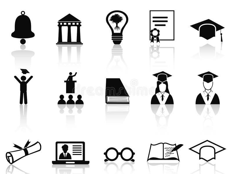Черные установленные значки коллежа иллюстрация вектора