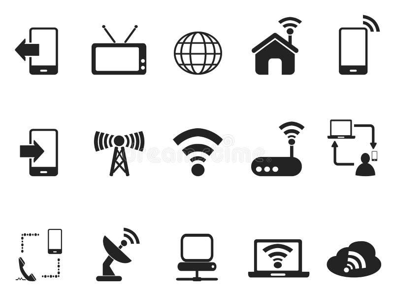 Черные установленные значки телекоммуникаций иллюстрация вектора