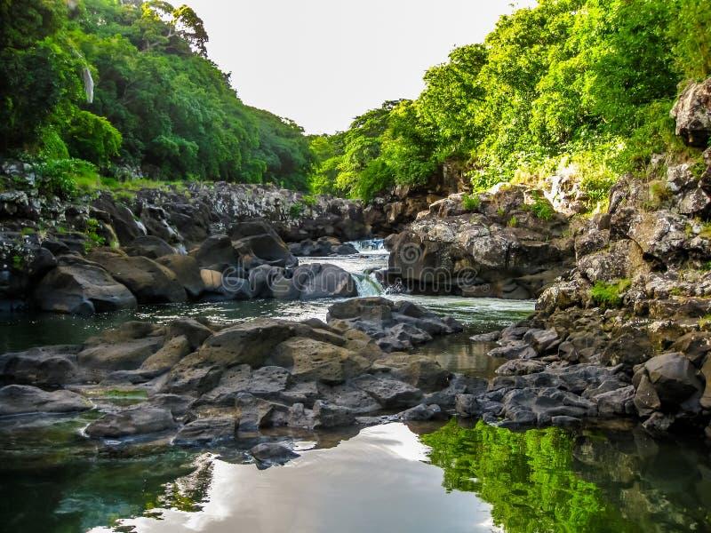 Черные ущелья Маврикий реки стоковые изображения rf