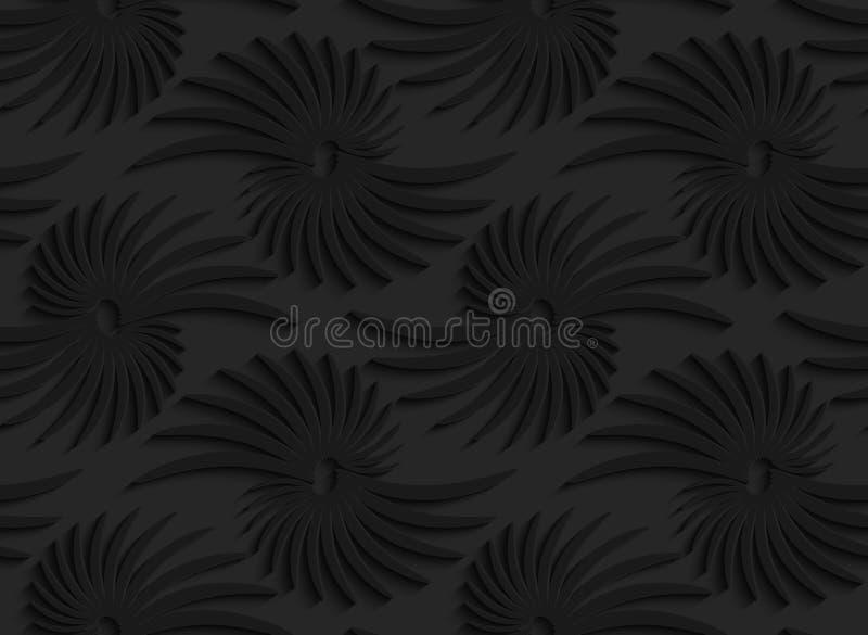 Черные формы конспекта 3d с листьями иллюстрация вектора