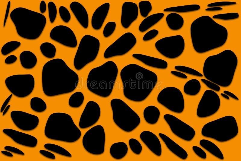 Черные формы свободной формы геометрические органические на оранжевой предпосылке Абстрактная текстура камня, ископаемых или живо бесплатная иллюстрация