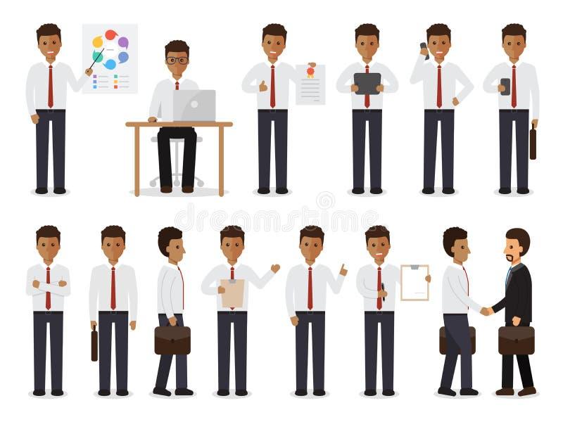 Черные характеры бизнесмена иллюстрация штока