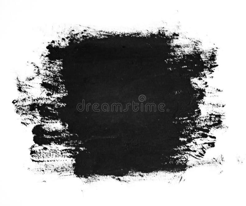 Черные ходы щетки на белой бумаге Темная абстрактная текстура краски акварели иллюстрация штока