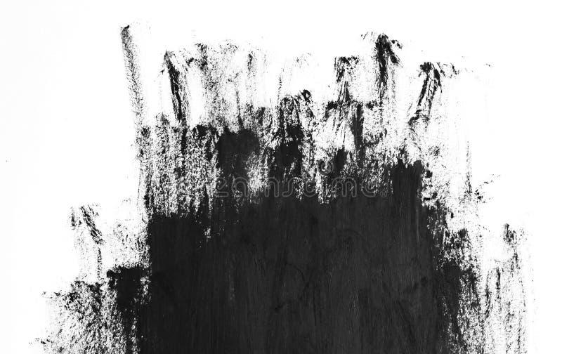 Черные ходы щетки на белой бумаге Темная абстрактная текстура краски акварели бесплатная иллюстрация