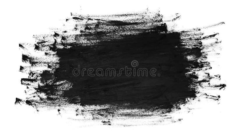 Черные ходы щетки на белой бумаге Темная абстрактная текстура краски акварели стоковая фотография