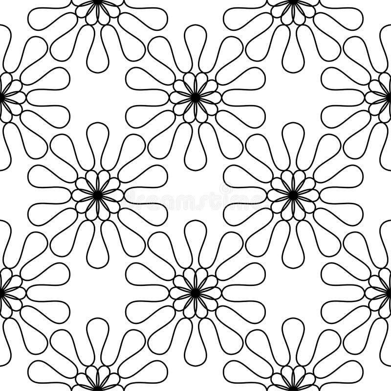 Черные цветки на белой предпосылке Орнаментальная безшовная картина иллюстрация штока