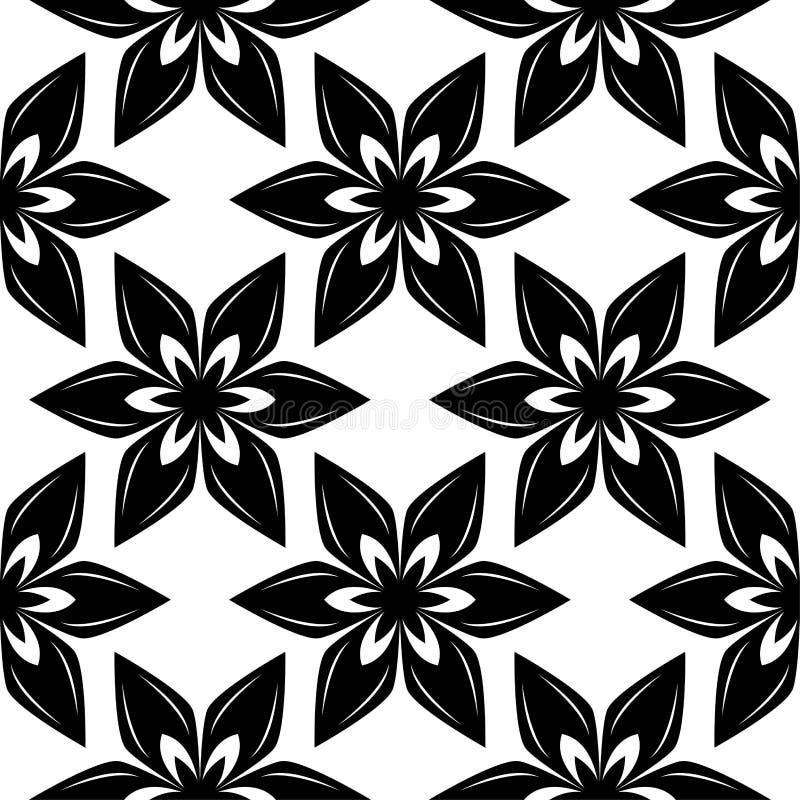 Черные цветки на белой предпосылке Орнаментальная безшовная картина бесплатная иллюстрация
