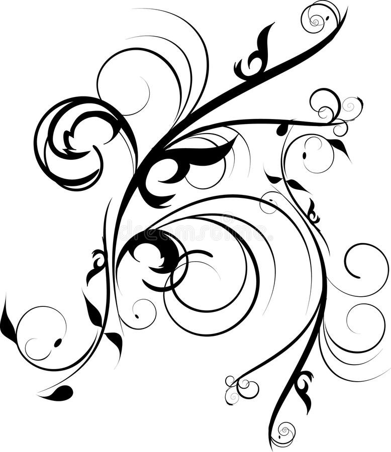 черные цветки украшения иллюстрация штока