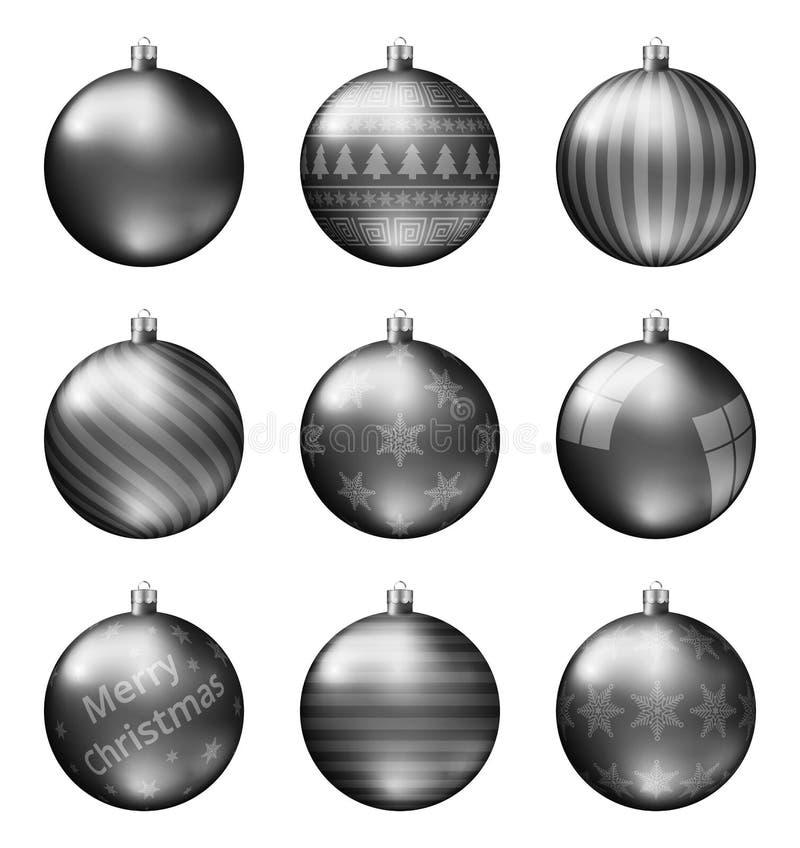 Черные шарики рождества изолированные на белой предпосылке Photorealistic высококачественный комплект вектора безделушек рождеств бесплатная иллюстрация
