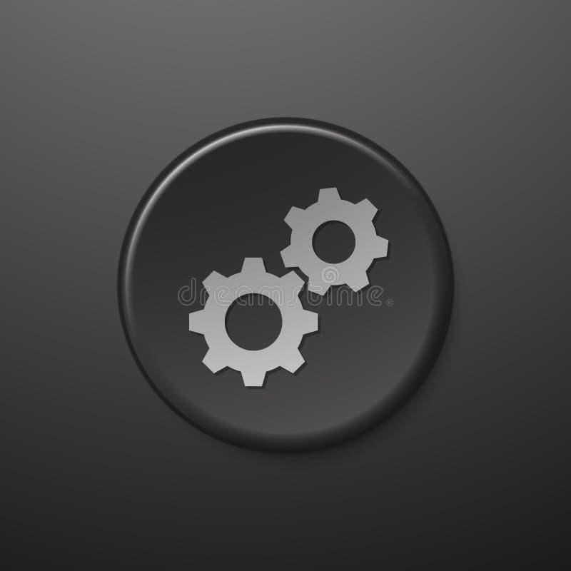 Черные шестерни значка сети иллюстрация штока