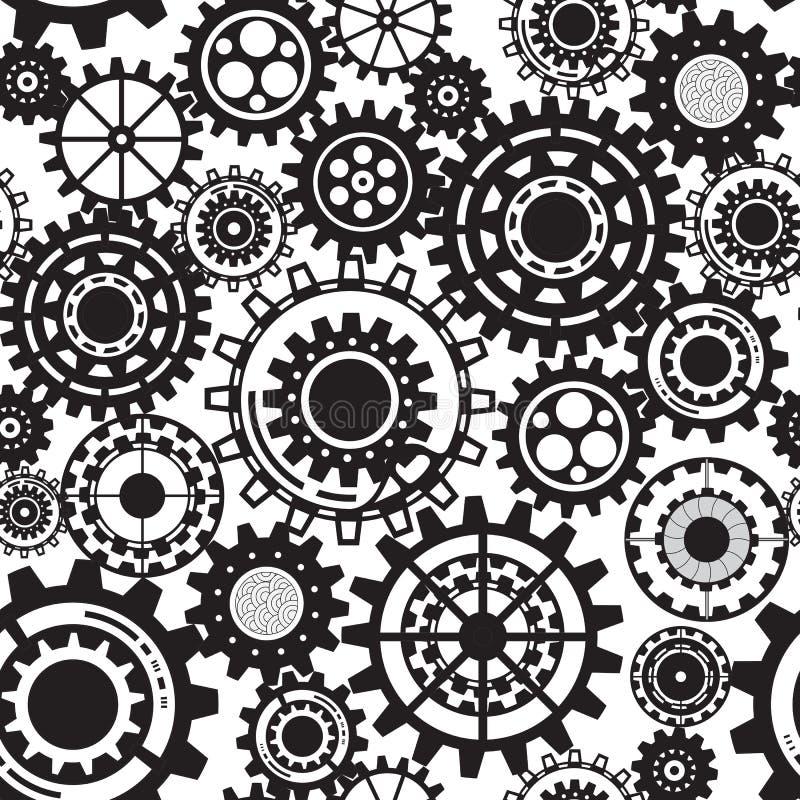 Черные шестерни, картина steampunk безшовная иллюстрация вектора
