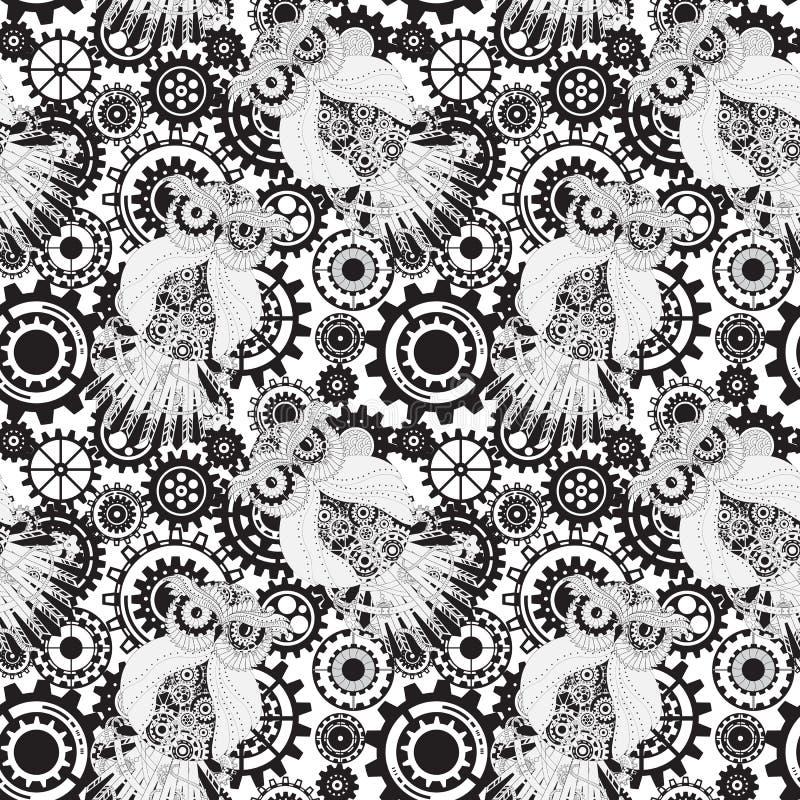 Черные шестерни, картина steampunk безшовная Steampunk бесплатная иллюстрация