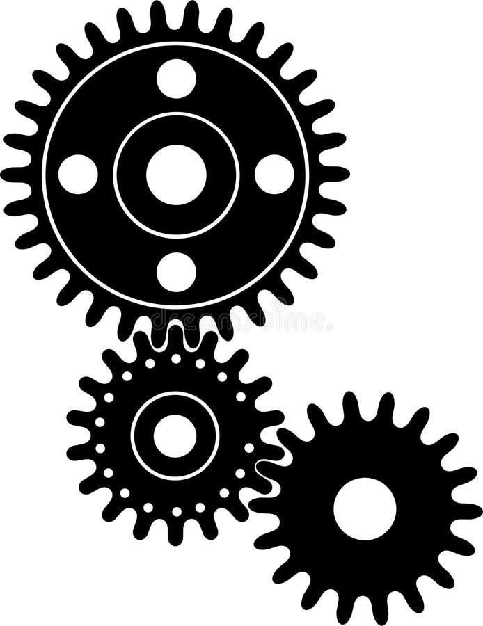 черные cogwheels иллюстрация штока