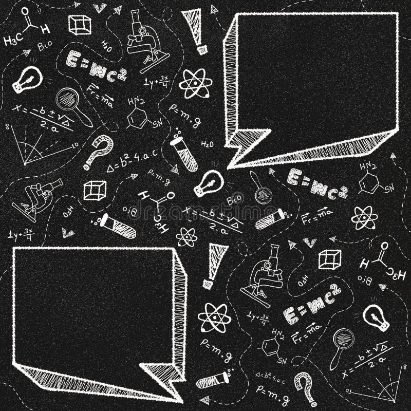 Черные doodles темы доски и школы с 2 пустыми пузырями речи стоковые изображения rf