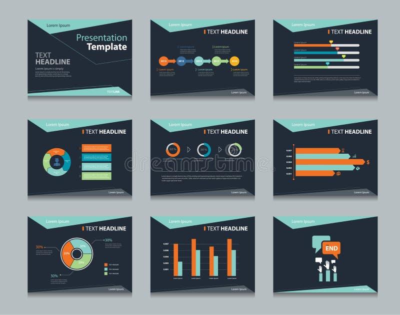 Черные infographic предпосылки дизайна шаблона PowerPoint Комплект шаблона представления дела иллюстрация штока