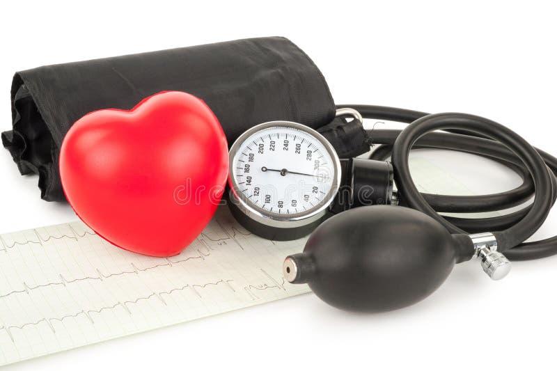 Черные tonometer и сердце, cardiogram стоковые изображения rf