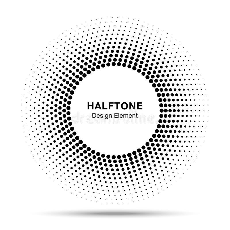 Черный абстрактный элемент дизайна логотипа точек полутонового изображения рамки круга иллюстрация штока