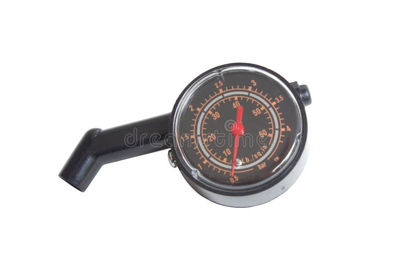 Черный датчик давления в шинах. стоковое изображение