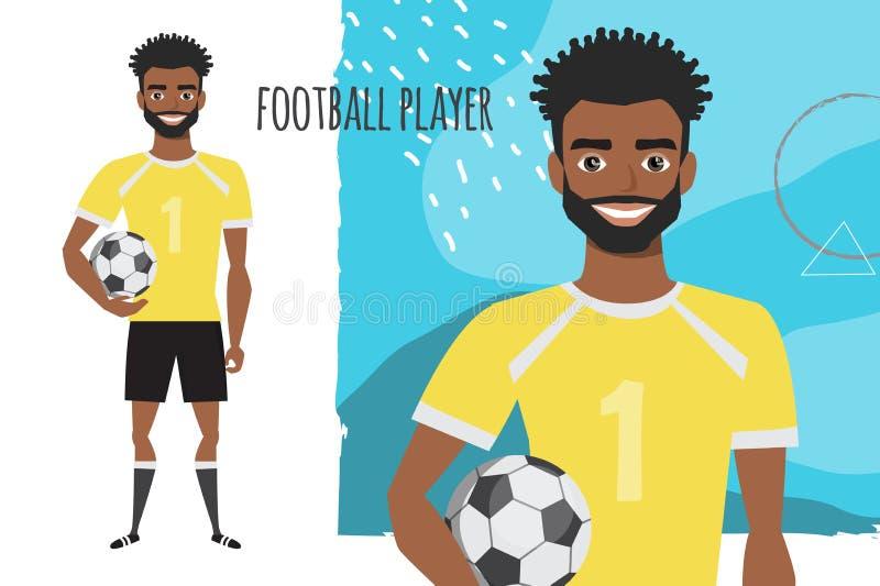 Черный Афро-американский характер футбола ball player soccer иллюстрация штока