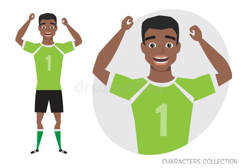 Черный Афро-американский характер футбола ball player soccer Эмоция утехи и веселья на стороне человека иллюстрация штока