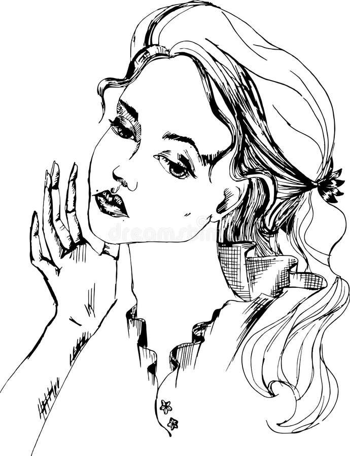 Черный белый портрет крупного плана женщины с рукой персоны Изнывать virgin иллюстрация вектора