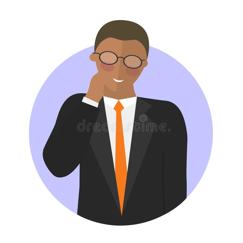 Черный бизнесмен застенчивый Плоский значок вектора иллюстрация вектора
