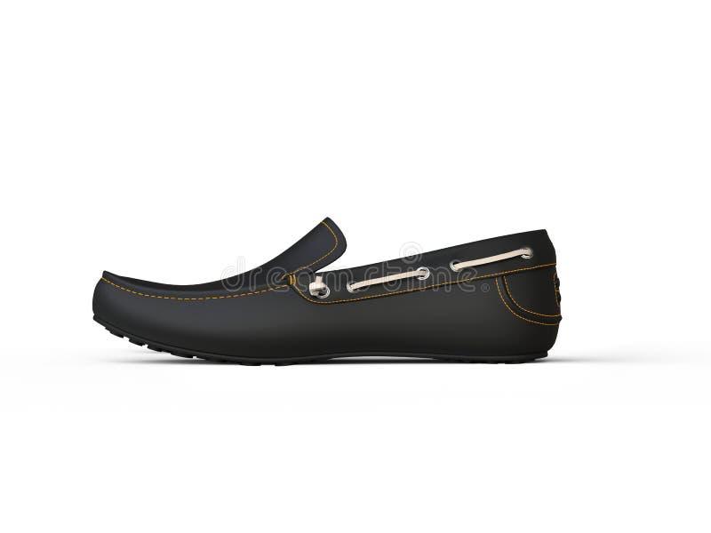 Черный ботинок loafer с желтый шить иллюстрация вектора